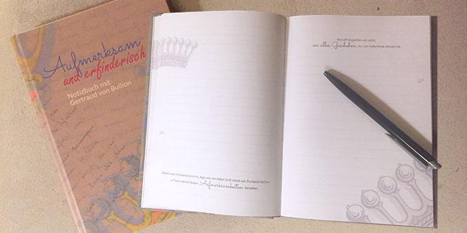 """Neuerscheinung: Notizbuch """"Aufmerksam und erfinderisch"""" (Foto: Brehm)"""
