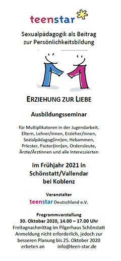 teenstar-Ausbildungskurs in Schönstatt, Flyercover