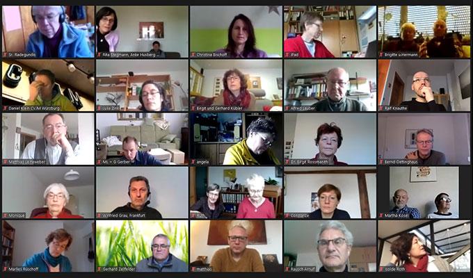 """Deutschlandtreffen des Netzwerkes """"Miteinander für Europa"""" per Video-Konferenz (Foto: Bildschirmfoto Videokonferenz)"""