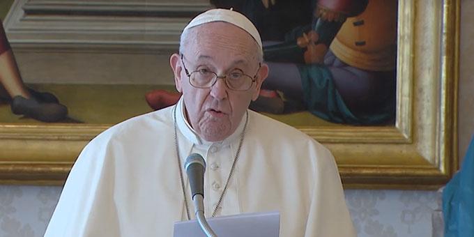 "Papst Franziskus bei der Ankündigung des Jahres ""Familie Amoris Laetitia"" (Foto: Screenshot Video von Vatikan News)"