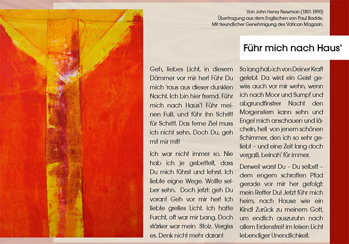 Gebet von John Henry Newmann (Foto: Übertragung aus dem Englischen von Paul Badde.  Mit freundlicher Genehmigung des Vatican Magazin.)