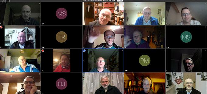 Einige der Teilnehmer des Online-Meetings der Männerwerkstatt im Februar 2021 (Foto: Amrein)