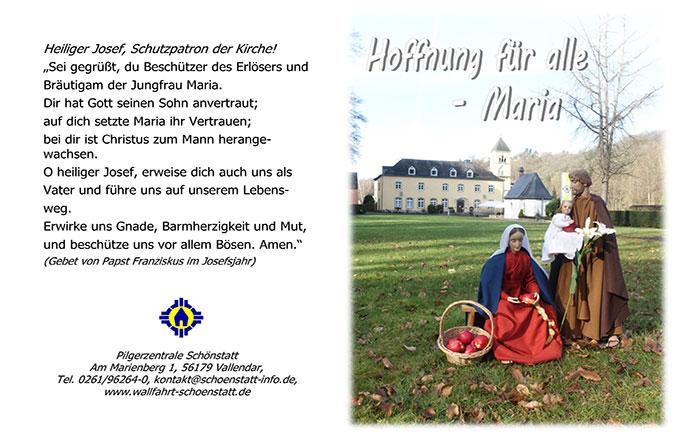 """Gebetsblatt mit dem """"Gebet zum Heiligen Josef"""" von Papst Franziskus (Foto: Pilgerzentrale)"""