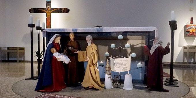Maria und Josef mit Jesus im Tempel (Foto: Pilgerzentrale)