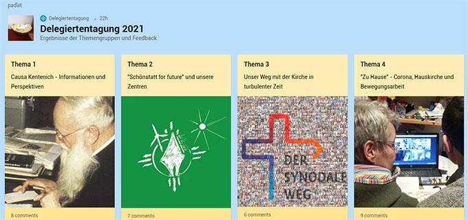 Themenpadlet zur Delegiertentagung (Foto: padlet)