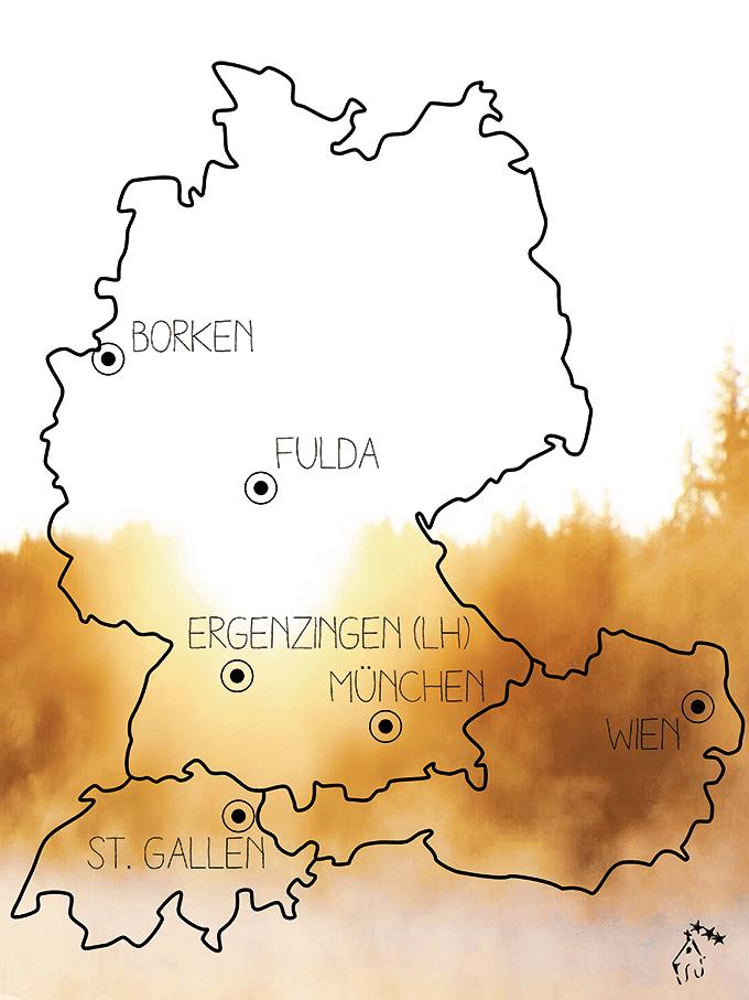 Die NdH 2021 wird in München, Dietershausen, Borken, Ergenzingen, Wien und St. Gallen gefeiert (Grafik: NdH)