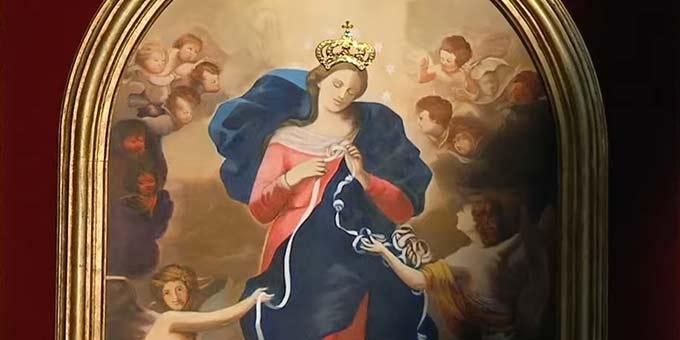 Der Papst krönte das Bild Mariens, der Knotenlöserin (Foto: Screenshot Video VaticanMedia)
