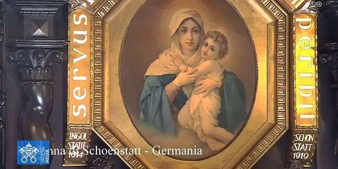 Das Urheiligtum in Schönstatt war Teil des medialen Gebetsnetzwerkes (Foto: Screenshot Video VaticanMedia)