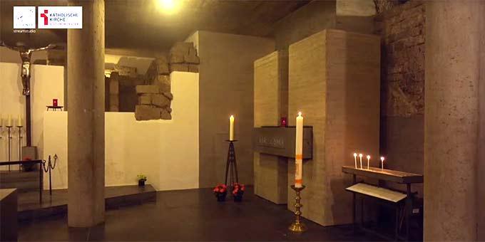 Grabstätte des Seligen Karl Leisners in der Krypta des Xantener Domes (Foto: Videoausschnitt)