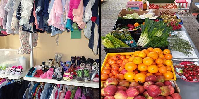 Babyausstattung und Kinderkleidung stehen in den Lichtzeichen Räumen auch in Zeiten von Corona zur Verfuegung und es gibt auch den Markt mit frischem Obst und Gemüse (Fotos: Eichenberg)