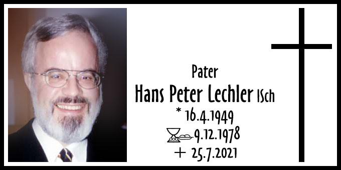Todesanzeige Pater Hans Peter Lechler