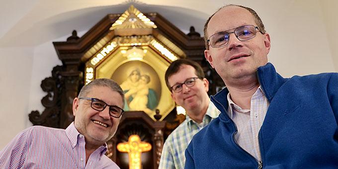 Die Schönstätter Marienbrüder haben eine neue Leitung gewählt (v.r.n.l): Thomas M. Butz, Harald M. Knes, Pedro M. Dillinger (Foto: Gonzáles)