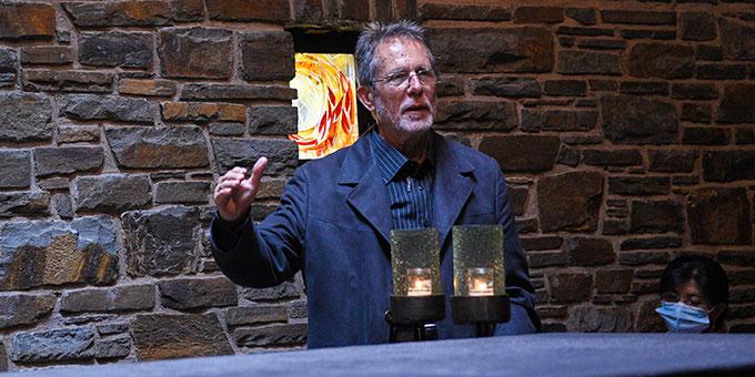 Pfarrer Faulhaber berichtet über seinen besonderen Abschied vom Schönstattgründer (Foto Klaus Kröper)