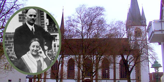 Helene und Fritz Kühr. Im Hintergrund die Kirche St. Martin Bad Lippspringe (Foto: Archivbild und ludger1961, CC BY-SA 3.0, https://commons.wikimedia.org/w/index.php?curid=581447)