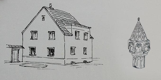 Geburtshaus und Taufbecken von Josef Kentenich in Gymnich (Foto: Brehm)